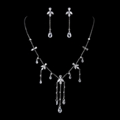 Silver Clear Swarovski and CZ Crystal Necklace & Dangle Earrings 9953