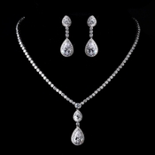 Antique Silver Clear Tear Drop CZ Stone Necklace 8749 & Earrings 8656