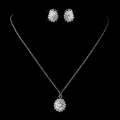 Antique Silver Clear Marquise CZ Crystal Necklace 8625 & Earrings 5397 Bridal Jewelry Set
