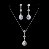 Antique Silver Clear Necklace 8623 & Earrings 8676 Jewelry Set