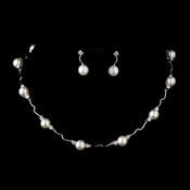 Silver Ivory Pearl and CZ Crystal Necklace & Earrings Bridal Jewelry Set 8764