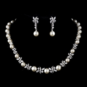 Silver Ivory Pearl and Clear CZ Stone Necklace 8765 & Earrings 8765