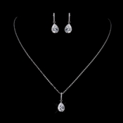 Silver Clear CZ Crystal Necklace & Earrings Bridal Jewelry Set 8786