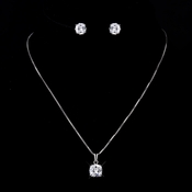 Silver Clear Princess CZ Necklace 8791 & Earrings 8791 Bridal Jewelry Set