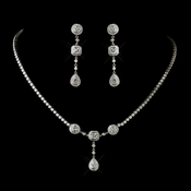 Antique Silver Clear Multi Cut CZ Stone Necklace 8103 & Earrings 8106 Bridal Jewelry Set