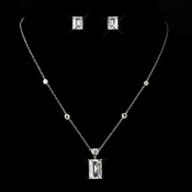 Antique Silver Clear Emerald Cut CZ Crystal & Rhinestone Necklace & Earrings Bridal Jewelry Set 8109