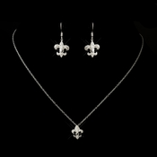 Antique Silver Clear French Inspired Fleur De Lis Necklace 8120