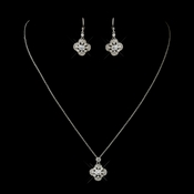 Antique Silver Clear CZ Crystal Necklace 8119 & Earrings 8107 Bridal Jewelry Set
