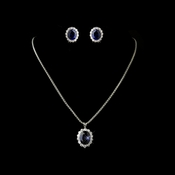 Silver Box Chain 5054 with Sapphire Pendant 5014 & Earrings 5015 Bridal Jewelry Set