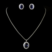 Silver Rollo Chain 8753 with Sapphire Pendant 5014 & Earrings 5015