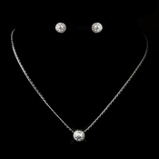 Antique Silver Clear Round CZ Stone Necklace 3534 & Earrings 3553 Bridal Jewelry Set