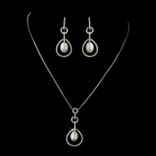 Antique Silver Diamond White Pearl & Rhinestone Necklace 2002 and Earrings 2006 Bridal Jewelry Set