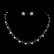 Antique Silver Clear Floral CZ Crystal Necklace 2502 & Earrings 3000 Bridal Jewelry Set