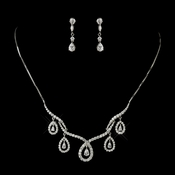 Antique Silver Clear CZ Crystal Necklace 2647 & Earring 2656 Bridal Jewelry Set