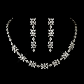 Antique Silver Clear CZ Stone Necklace 2626 & Earrings 5215 Bridal Jewelry Set