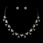 Antique Silver Clear Floral CZ Crystal Necklace 2674 and Earrings 3000 Bridal Jewelry Set