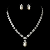 Antique Silver Ivory Pearl & Clear CZ Stone Necklace & Earrings Bridal Jewelry Set 1283