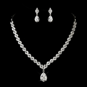 Antique Silver Clear CZ Tear Drop Stone Necklace & Earrings Bridal Jewelry Set 1285