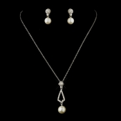 Antique Silver Ivory Pearl & Rhinestone Necklace & Earrings Bridal Jewelry Set 8599