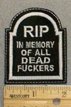 RIP In Memory Of All Dead Fuckers - Tombstone Shape - Embroidery Patch
