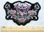 TRIBAL ENGINE AND ROSES - EMBROIDERY PATCH