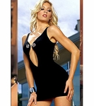 SLINKY BLACK ONE-PIECE COCTAIL DRESS - FREE SHIPPING!