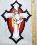 CROSS WITH PRAYING HANDS BACK PATCH - FREE SHIPPING!