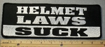 Helmet Laws Suck - Back Patch - Embroidery Patch