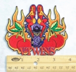 V-TWINS REDHEADS FLAMING ENGINE CHERRY - EMBROIDERY PATCH