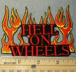 1546 N - Hell On Wheels With Flames - Embroidery Patch