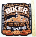 BIKER WHISKEY LABEL BACK PATCH - FREE SHIPPING!