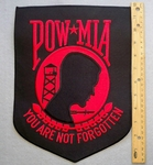 POW MIA SHIELD EXTRA LARGE - RED - FREE SHIPPING!