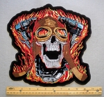 EXTRA LARGE FLAMING SKULL AND V-TWIN PATCH - FREE SHIPPING!