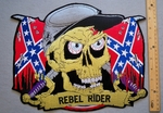 640 R - Confederate Flag -  Rebel Rider Skull Face -  Back Patch - Embroidery Patch