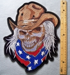 823 G - Cowboy Hat With Skullman Wearing Confederate Flag Bandana - Back Patch - Embroidery Patch