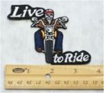 18 N - LIVE TO RIDE SKELETON ON BIKE - EMBROIDERY PATCH