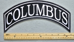 COLUMBUS TOP ROCKER - EMBROIDERY PATCH - WHITE - FREE SHIPPING!