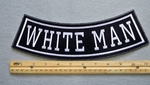 WHITE MAN BOTTOM ROCKER - EMBROIDERY PATCH - WHITE - FREE SHIPPING!