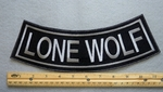 LONE WOLF BOTTOM ROCKER - EMBROIDERY PATCH - GRAY - FREE SHIPPING!