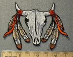 3672 N - Desert Skull With Feathers - Embroidery Patch