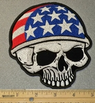Skull Face With American Flag Helmet - Embroidery Patch