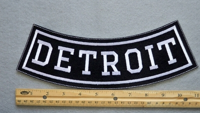 DETROIT BOTTOM ROCKER - EMBROIDERY PATCH - WHITE - FREE SHIPPING!