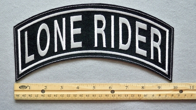 "LONE RIDER 11"" TOP ROCKER - EMBROIDERY PATCH  - WHITE - FREE SHIPPING!"