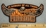 In Memory Of All Those Who Died Defending Our Freedom - Embroidery Patch