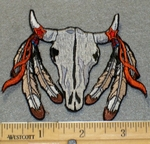 2155 N - Desert Skull With Feathers - Embroidery Patch