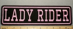 2197 L - Lady Rider - Pink - 11 Inch Straight - Embroidery Patch
