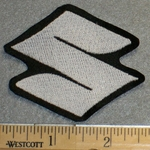 Suzuki Logo - 2 Inch - White - Embroidery Patch