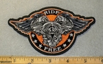 2037 G - Ride Free With V - Twins And Wings - Embroidery Patch