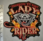 1788 G - Lady Rider - Freedom To Ride - Back Patch - Embroidery Patch