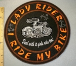 2019 L - Lady Rider - I Ride My Bike - Round Back Patch - Orange - Embroidery Patch